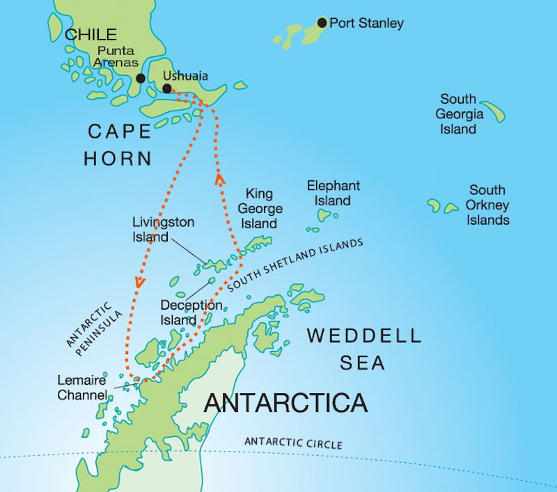 Marine Mammals of Antarctica route map