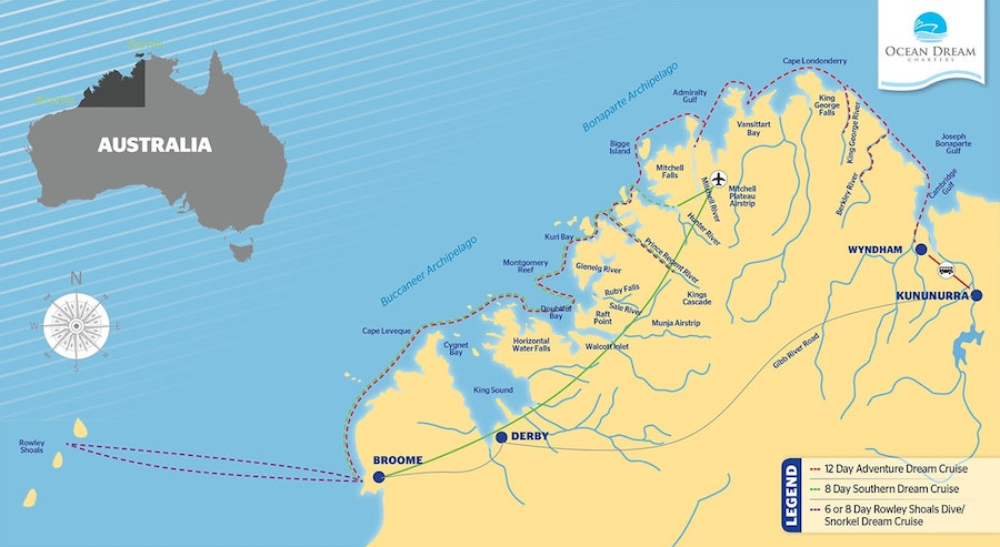 Kimberley Dream Cruise from Wyndham route map
