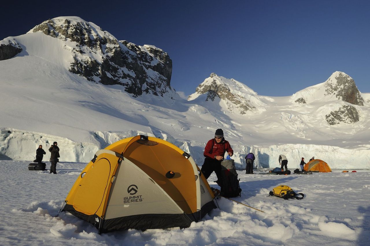 Expedition cruises to Antarctica include ice camping
