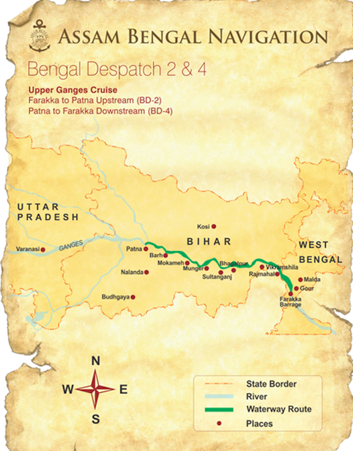 India's Holy Ganges - from Farakka to Patna route map