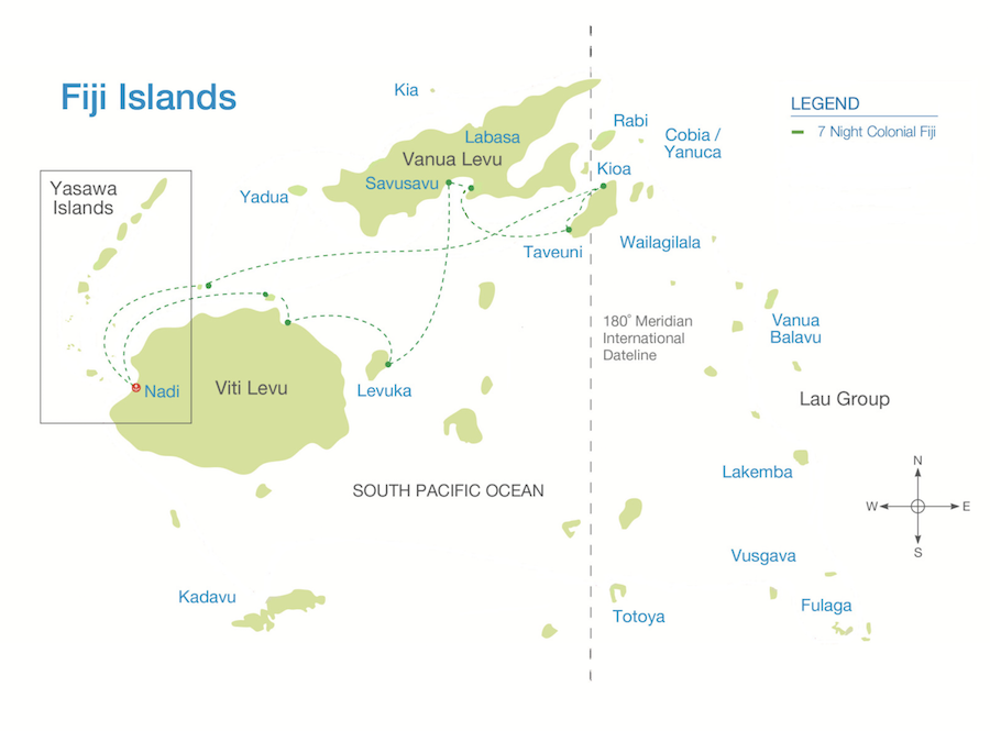 Colonial Fiji Discovery route map
