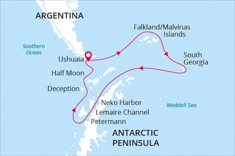 Antarctica Expedition Cruise Map sea spirit