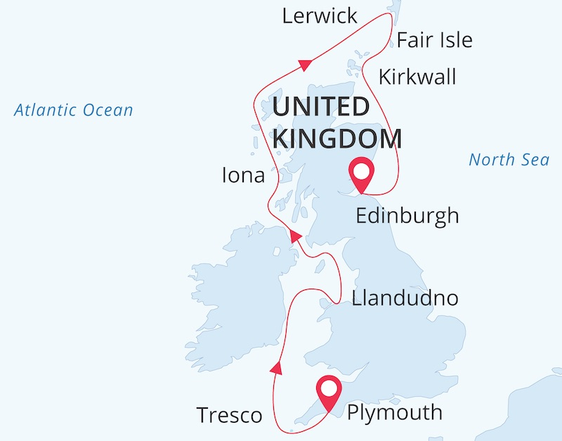 British Isles aboard Sea Spirit route map